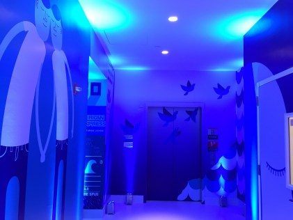 PHL Centurion lounge elevator hallway art