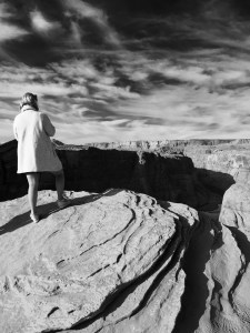 "Horseshoe Bend ""Woman in White Coat"" by PhilaTravelGirl"