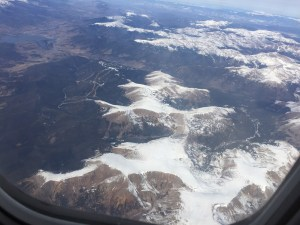 Rocky Mountain Snow Views from United Flight from Denver