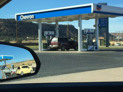 """Chevron """"clean bathrooms"""" on 89S Roadtrip St. George to Page"""