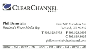 portland's finest media rep clear channel business card