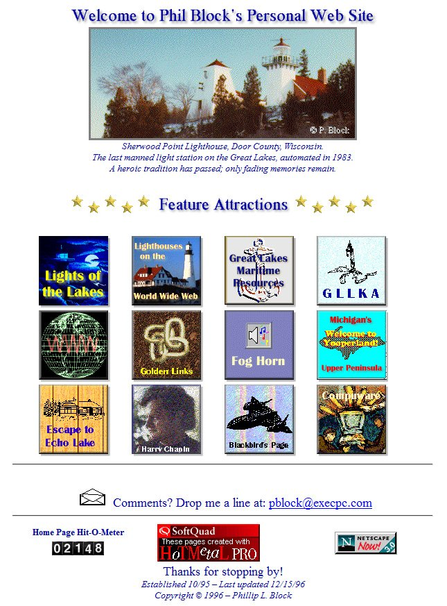 Phil Block's Personal Web Site, 1996-2000