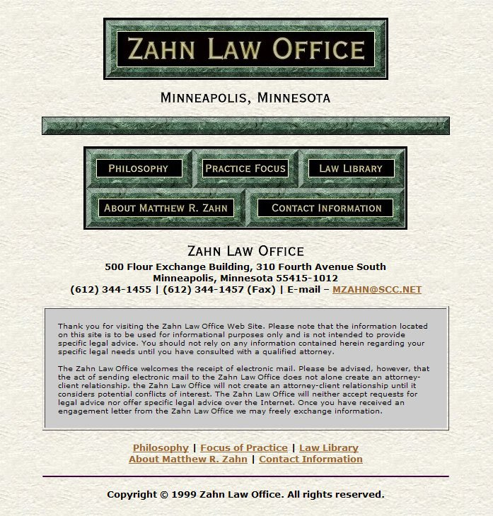 Zahn Law Office Home Page