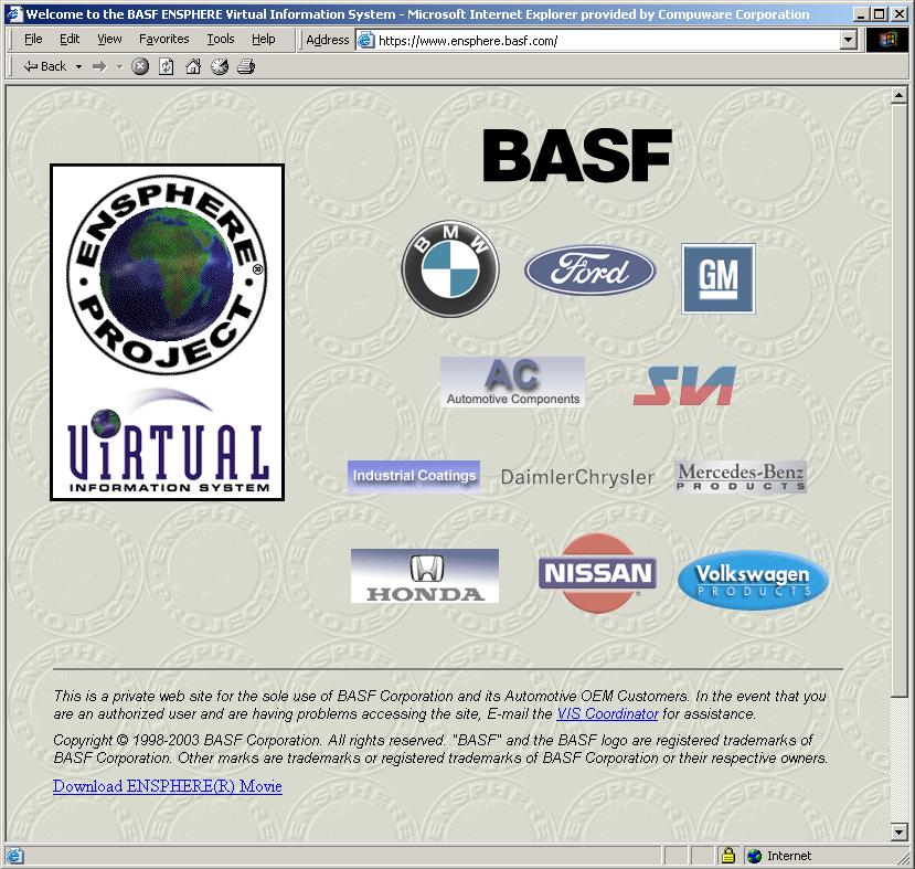 BASF Ensphere Splash Page