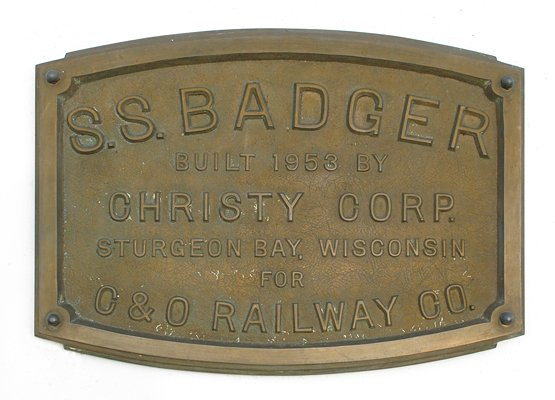S.S. Badger identity plate
