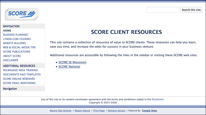 SCORE Client Resources