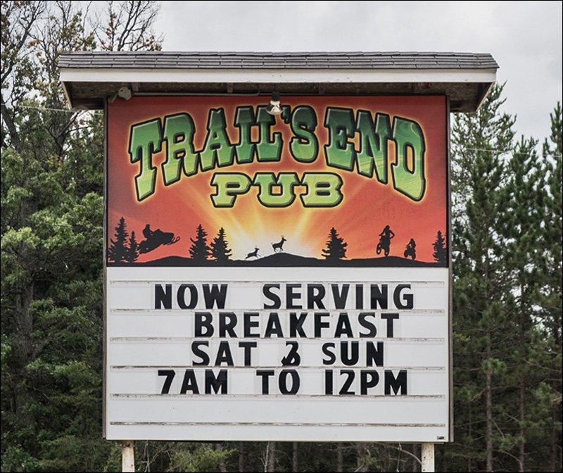 Trail's End Pub Sign
