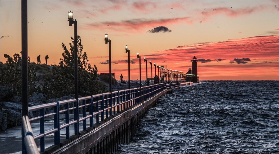 Grand Haven South Pier at sunset