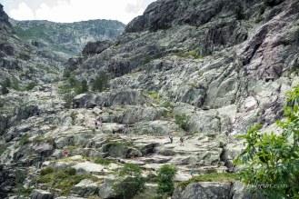 Les dalles des roches vertes de la descente du Mt Cinto vers Carozzu