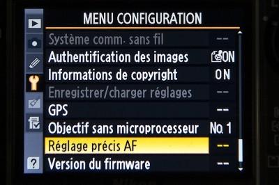 Menu configuration autofocus