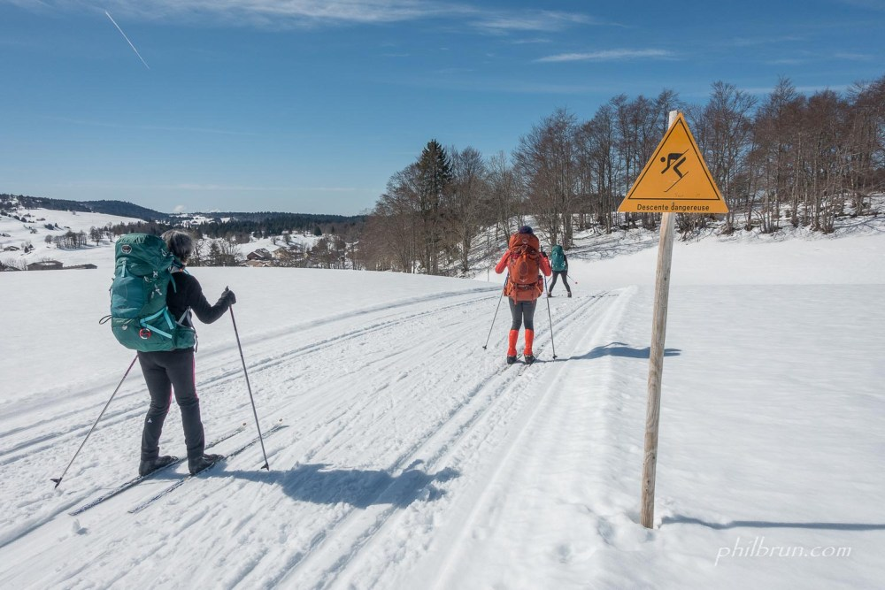 Descente toujrous périlleuse en ski de fond