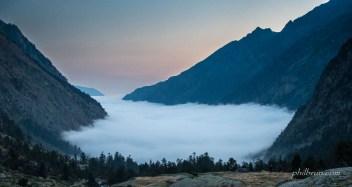 Mer de nuages dans la vallée de Lutour