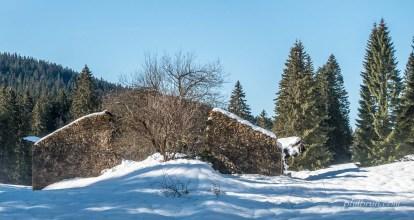 Belle ruine dans la neige