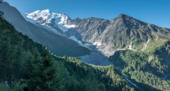 Vue sur le massif du Mont Blanc et le glacier de la Griaz