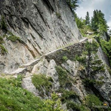 Un passage pouvant être impressionnant en montant vers le col de Balme