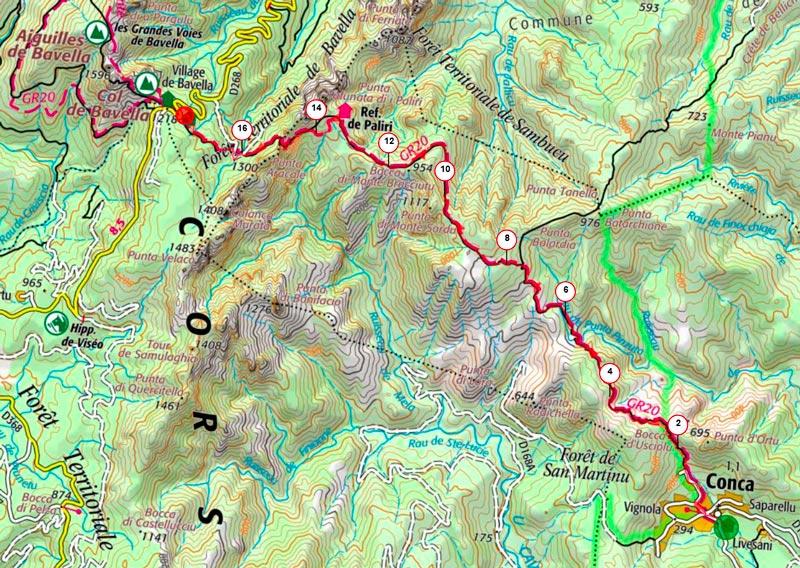 carte topo de l'étape 1 du GR20 sens sud nord