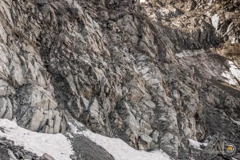 Le pied de la paroi de descente du col de Wasulicke