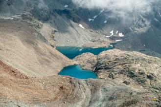 depuis le col de Valcorniere les lacs du Dragon et de Gratt