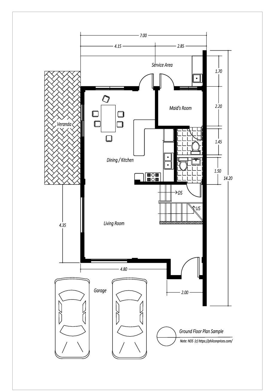 Average 2 Story House Sample - Ground Floor