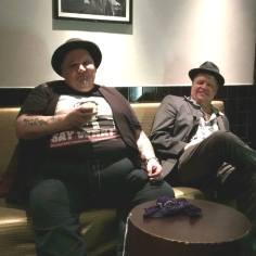 Talking guitars with Popa Chubby backstage at BBKings NYC after our concert.