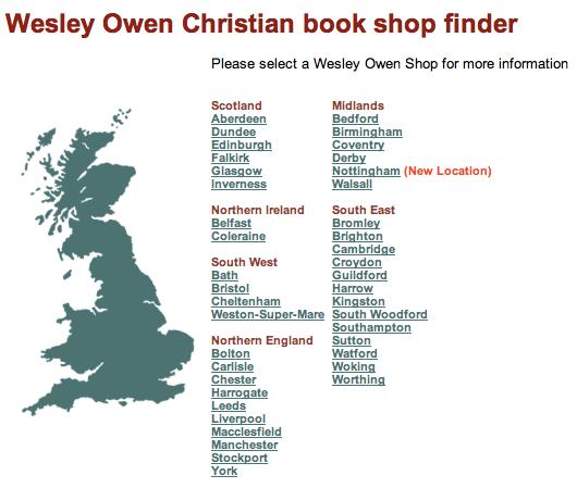 Wesley Owen Store Finder, as at 11 Dec 2009