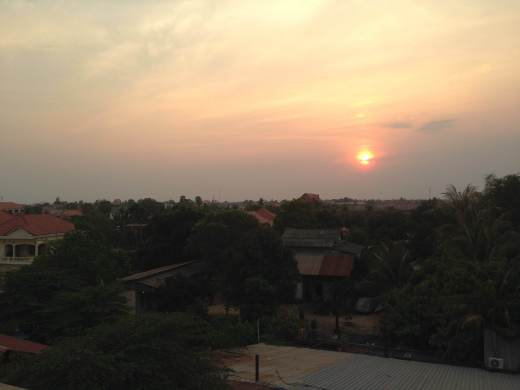 Sunset over Siem Reap from the roof of Funky Flashpackers