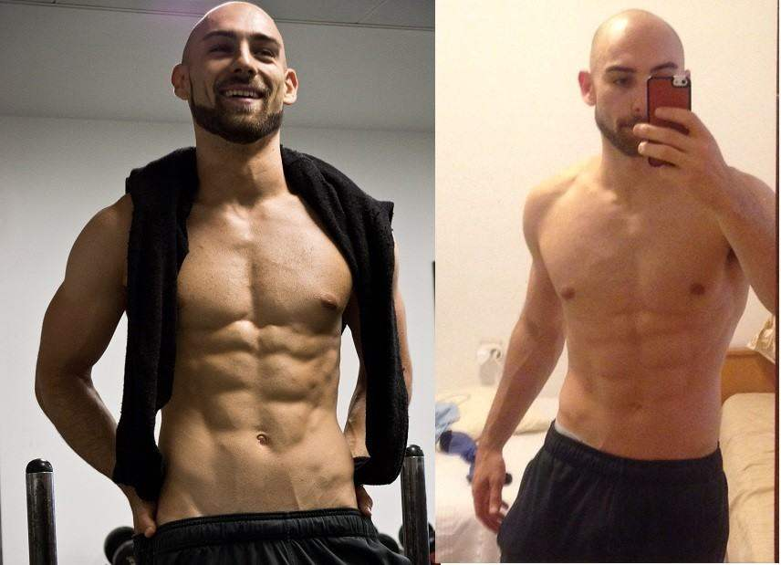 Photo shoot day versus on holiday in Croatia 6 weeks later. Not as lean and vascular but still very lean
