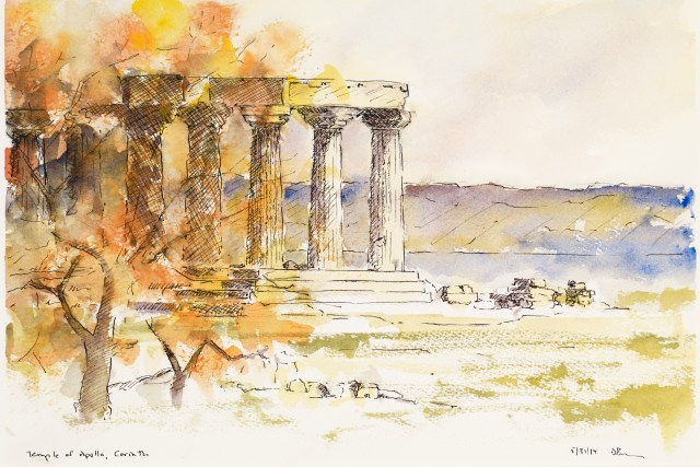 Watercolour of the Temple of Apollo, Corinth, by David Pearce