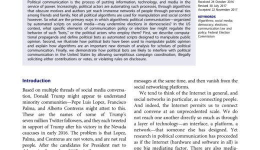 Algorithms, bots, and political communication in the US 2016 election