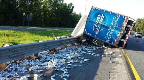Overturned Beer Truck