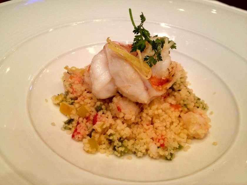 Grilled Tiger Prawns with Semolina, Diced Bell Pepper, and Basil
