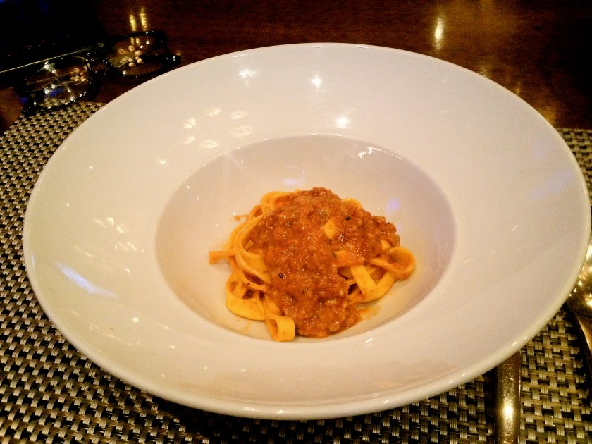 Tagliatelle Pasta, Traditional Italian Ragout, and Parmesan Cheese Dust