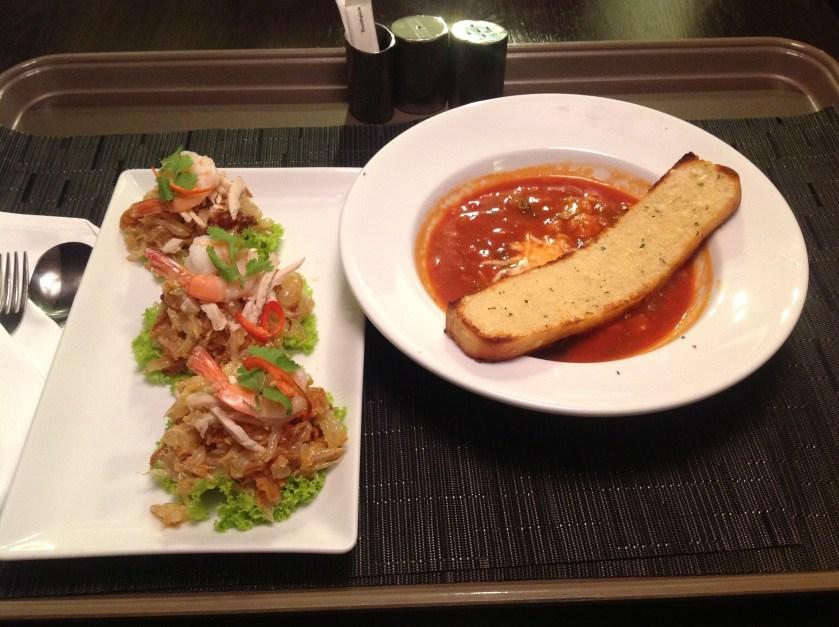 "Pomelo Salad, ""Mexican"" Soup"