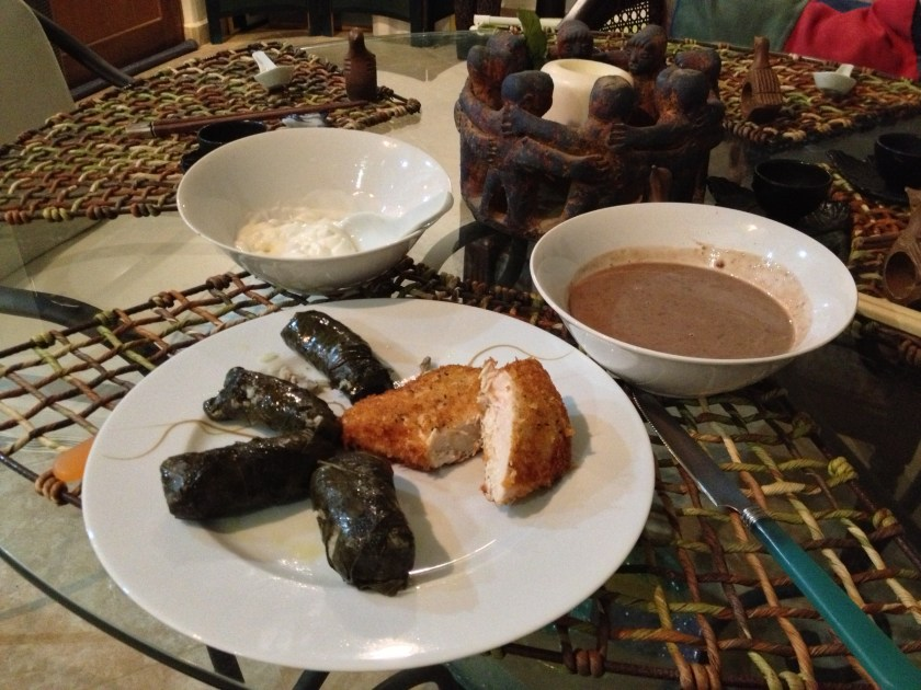 Dolmathes, Creamy Black Bean Soup, Pan-Fried Chicken
