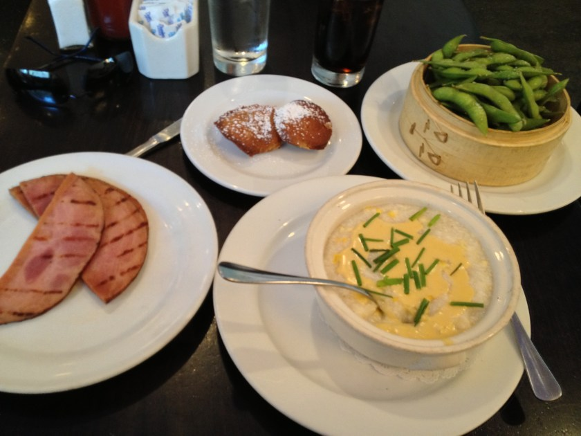Honey Roasted Ham, Sweet Corn Grits, Edamame