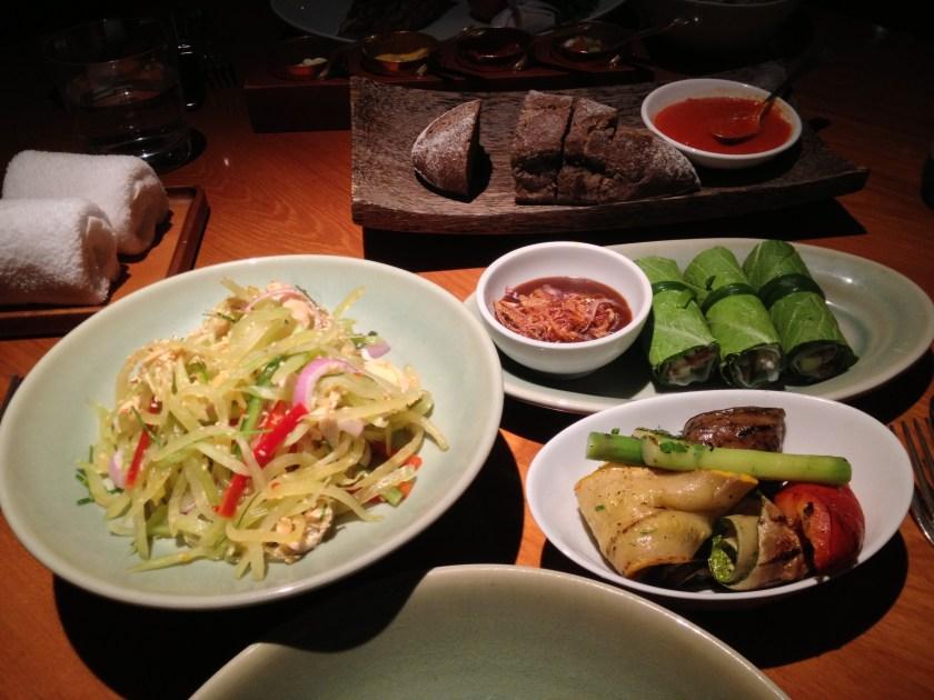 Green Papaya Salad, Fresh Spring Rolls, Grilled Vegetables
