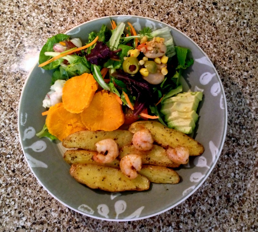 Sweet Potatoes, Fingerling Potatoes w/Shrimp, and Salad
