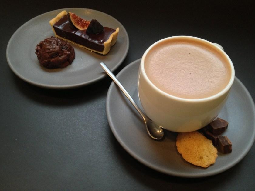 Almond Milk Hot Chocolate, Roasted Fig Chocolate Ganache Tart, Mini-Brownie Bite