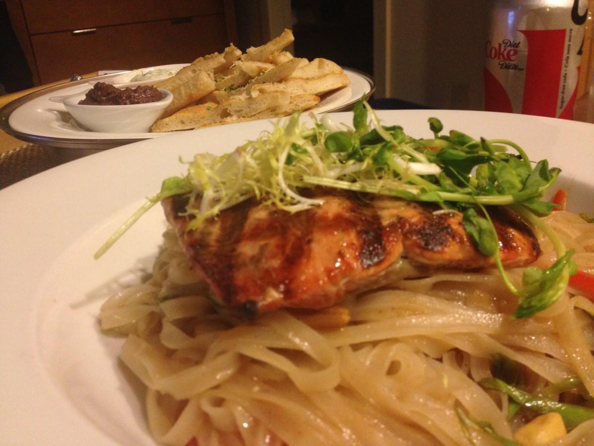 Salmon Pad Thai, Flatbreads w/Dips