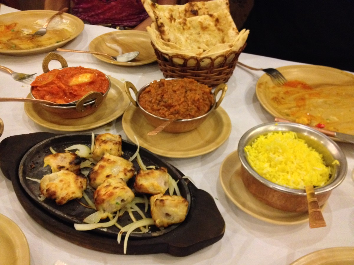 Naan, Fish Tikka Kebab, Eggplant Curry, Chicken Curry