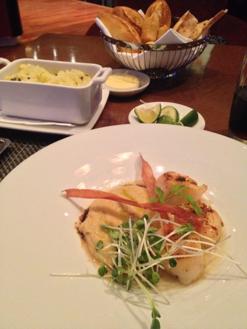 Seared Scallops, Crush Potatoes w/Olives
