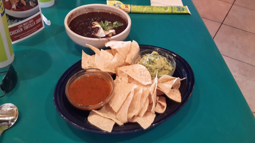 Black Bean Soup, Chips and Guacamole