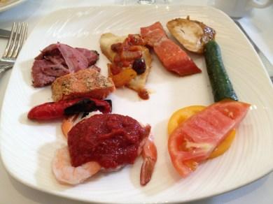 Lamb, Salmon, Chicken, Fish, Shrimp, and Vegetables