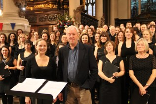 Philip with Constanza Chorus, first performance of A Farewell, St Sepulchre-without-Newgate, London, October 2013