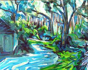 "Philip Bates Artist ""Eagle Neck Oaks I"", Acrylic, 16X20, $150 W/Strip frame"