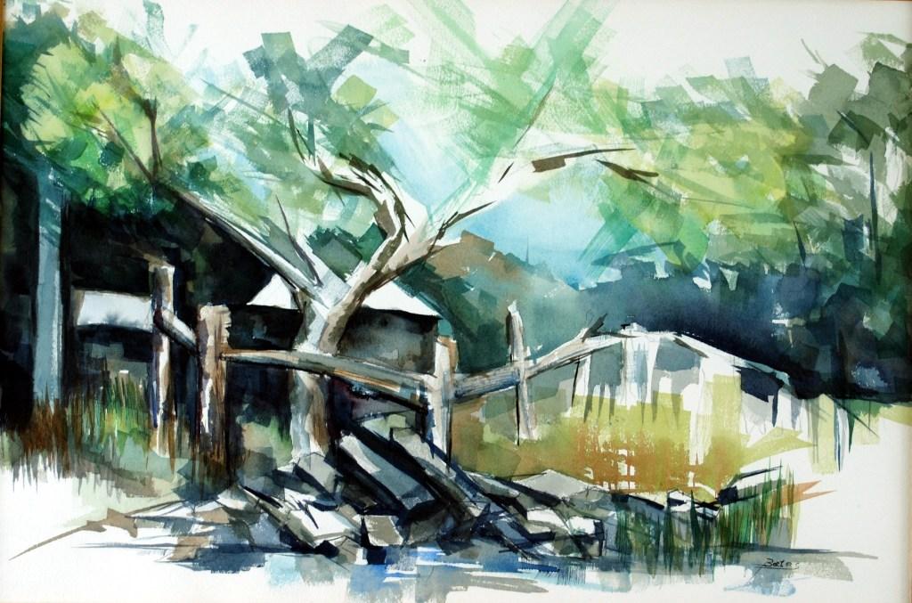 """Philip Bates Artist """"Cedar at Dunham Point"""" Mixed Media 14X21 $250 Framed"""