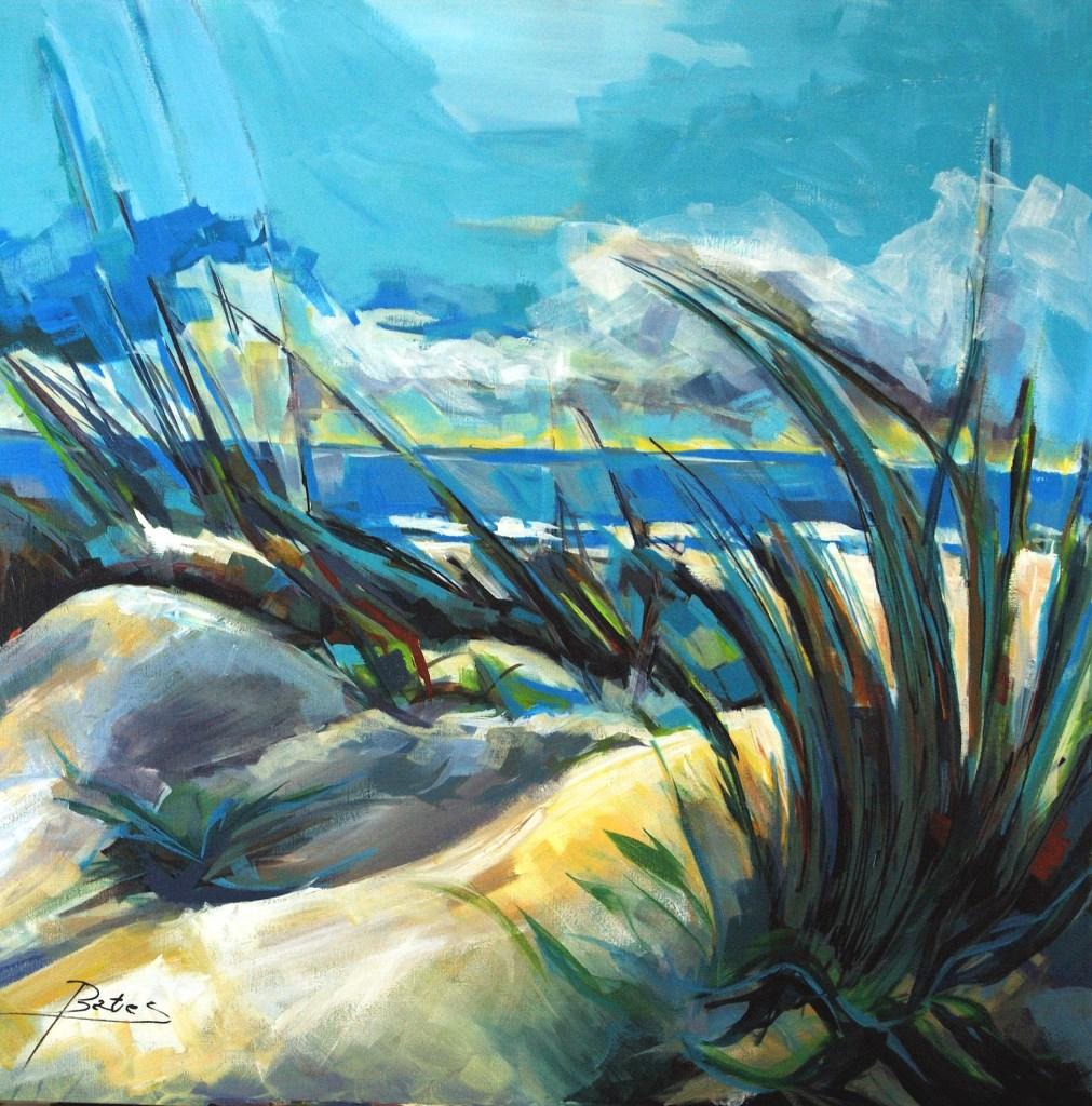 "Philip Bates Artist ""Dunes at Cabretta Inlet"" acrylic 36X36 $1200 w/strip frame"