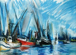 "Philip Bates Artist ""Fishing Boats- Darien"" 7X10 mixed media $100 framed"