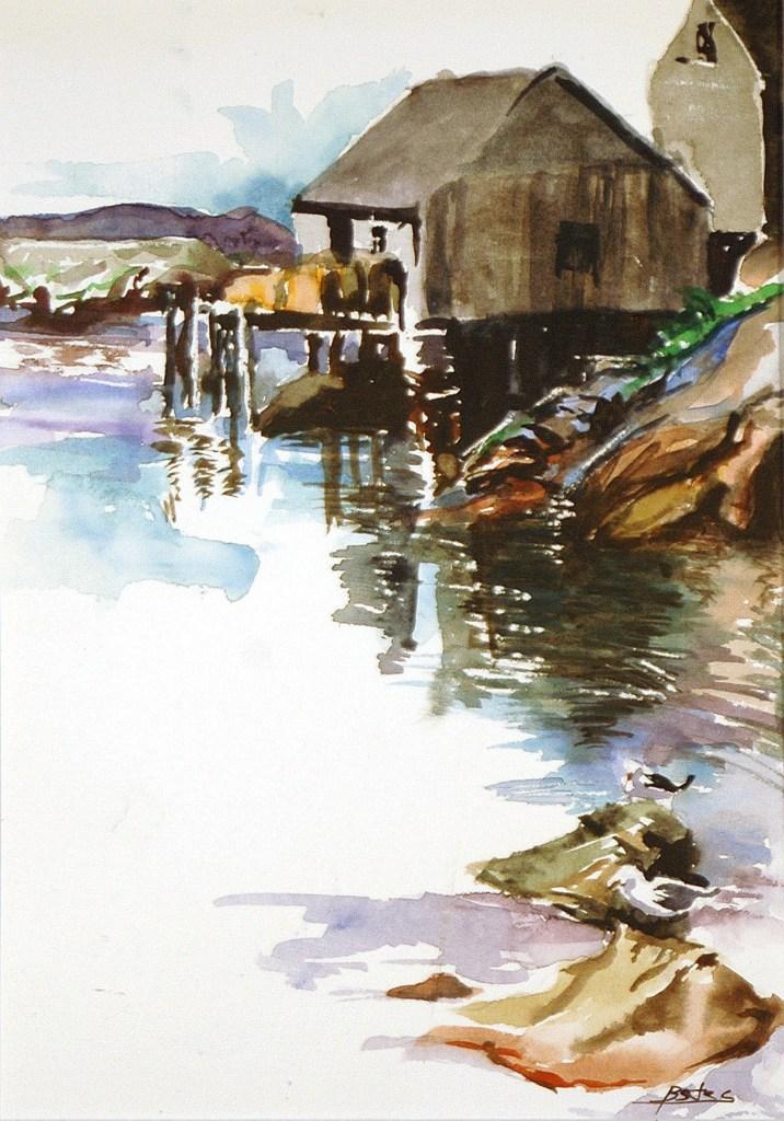 """Philip Bates Artist """"Harbor in Nova Scotia 1"""" Mixed Media 8 X 11 $150 framed"""