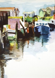 "Philip Bates Artist ""Harbor in Nova Scotia 2"" 8 X 11 $150 framed"